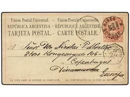 19 ARGENTINA. 1880. BUENOS AYRES A DINARMARCA. Entero Postal De <B>6 Ctvos.</B> Rojo, Fechador Octogonal Francés<B> BUEN - Stamps
