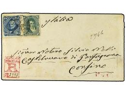 20 ARGENTINA. 1881. Registered Envelope To Castelnuovo, Italy Franked Rouletted <B>16c. + 24c</B> Tied By <B>Buenos Aire - Stamps