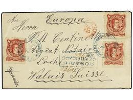 21 ARGENTINA. Sc.39 (3). 1890. ROSARIO A SUIZA. <B>8 Ctvos.</B> Carmín (3). Carta Certificada. Al Dorso Llegada. - Stamps