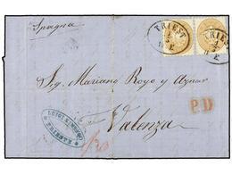 23 AUSTRIA. 1866. TRIEST A VALENCIA (España). <B>15 Kr. </B>castaño Claro (2). Magnífica, Rara Destinación. <BR> - Stamps