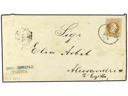 24 AUSTRIA. 1873. Postal Stationary Envelope <B>15 Kr.</B> Brown Cancelled By<B> TRIESTE</B> Oval Datestamp Addressed To - Stamps