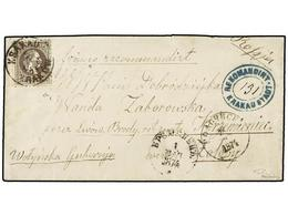 25 AUSTRIA. Sc.32. 1874. Registered Cover From KRAKAU (Poland) Addressed 'via Lvov, Brody' To RUSSIA Franked By Single 1 - Stamps