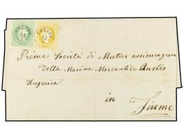 26 AUSTRIA. 1875 (April 27). Cover To FIUME Franked By 1867 <B>3kr.</B> Green Coarse Printing And 1874 <B>2kr.</B> Yello - Stamps