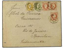 27 AUSTRIA. 1881 (Nov 11). Cover To Rio De Janeiro, Brazil With Three Colour Franking Of 1874-77 <B>2kr</B>. Yellow, <B> - Stamps