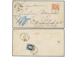 28 AUSTRIA. 1883. DOBRISCH To VIENNA. REGISTERED LETTER With MIXED FRANKING. On Obverse <B>5 Kr.</B> (Sc 43) (issue For  - Stamps