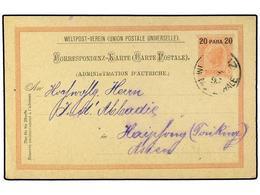 30 AUSTRIA. 1897. STANZ MURZ (Austria) To HAIPONG (Indochina). Austria-Levant Postal Stationary <B>20 Pa.</B> <B>on 5 He - Stamps