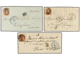 40 BELGICA. 1851-58. THREE Covers To FRANCE With <B>40 Cts.</B> Rose Stamp. - Stamps