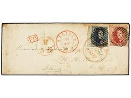 42 BELGICA. Of.7, 8. 1852. MALINES To DUBLIN (Ireland). Envelope Franked With <B>20 Cts.</B> Blue And <B>40 Cts. </B>ros - Stamps
