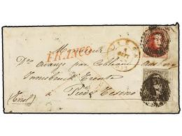 43 BELGICA. Of.7, 8. 1852. LIEGE To INSBRUCK (Tirol, Austria). Envelope Franked With <B>10 Cts.</B> Brown And <B>40 Cts. - Stamps