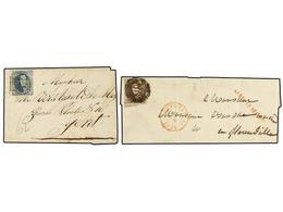 44 BELGICA. 1852. TWO Covers With <B>10 Cts.</B> And <B>20 Cts.</B> Franking. Lineal <B>APRES LE DEPART</B> Marks. Fault - Stamps