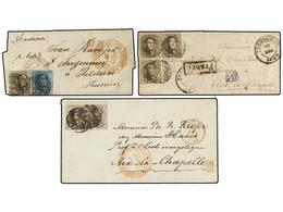45 BELGICA. 1852-57. FIVE Covers To GERMANY. <B>10 + 10 Cts.</B>, <B>20 Cts.</B>, <B>10 + 10 + 10 Cts.</B>, <B>10 + 20 C - Stamps