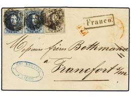 46 BELGICA. Of.6, 7 (2). 1853. LIEGE To FRANKFURT (Germany). Folded Letter Franked With <B>10 Cts.</B> Brown And Two <B> - Stamps