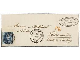 47 BELGICA. 1853. VROENHOVEN To ROERMOND (Holland). Entire Letter Franked With <B>20 Cts.</B> Blue Stamp, Tied By <B>54  - Stamps