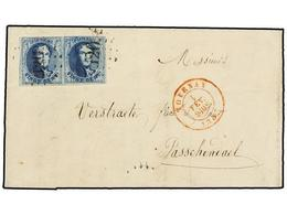 48 BELGICA. Of.7 (2). 1853. TOURNAY To PASSCHENDAEL. Entire Letter Franked With Pair Of <B>20 Cts.</B> Blue (one Short M - Stamps