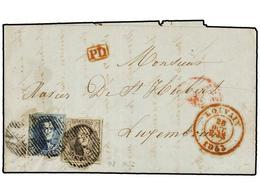 49 BELGICA. Of.7, 8. 1853. LOUVAIN To LUXEMBOURG. Entire Letter Franked With <B>10 Cts.</B> Brown And <B>20 Cts.</B> Blu - Stamps
