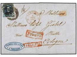 52 BELGICA. Of.7. 1855. VERVIERS To COELN (Germany). Entire Letter Franked With <B>20 Cts.</B> Blue Stamp. Reduced Rate. - Stamps