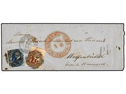 53 BELGICA. Of.7, 8. 1855. BRUXELLES To BRUNSWICK (Germany). Envelope Franked With <B>20 Cts.</B> Blue And<B> 40 Cts.</B - Stamps