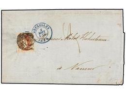 54 BELGICA. Of.8. 1856. BRUXELLES To NAMUR. Folded Letter Franked With <B>40 Cts.</B> Red, Complete Margins, Tied By <B> - Stamps