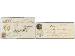 55 BELGICA. Of.14 (2). 1864. TWO Covers Franked With <B>10 Cts.</B>  Brown Stamps. <B>AFFRANCHISSEMENT INSUFFISANT.</B> - Stamps