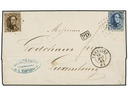 56 BELGICA. Of.14, 15. 1864. VERVIERS To LUXEMBOURG. Entire Letter Franked With <B>10 Cts.</B> Brown And <B>20 Cts.</B>  - Stamps