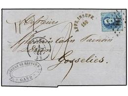 57 BELGICA. Of.15. 1864. GAND To GOSSELIES. Folded Letter Franked With <B>20 Cts.</B> Clue Stamp. <B>AFFR. INSUFF.</B> R - Stamps