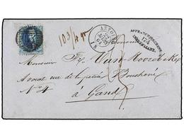 58 BELGICA. Of.15. 1864. ANTOING To GAND. Envelope Franked With <B>20 Cts. </B>blue Stamp. <B>AFFRANCHISSEMENT INSUFFISA - Stamps