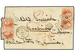 60 BELGICA. 1864. BRUXELLES To U.S.A. Folded Letter Franked With Four <B>40 Cts.</B> Red Stamps. Envelope Cut Left Side. - Stamps