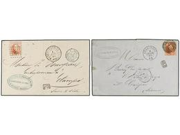61 BELGICA. Of.8 (2). 1864-65. TWO Covers To FRANCE With <B>40 Cts.</B> Red Franking. - Stamps