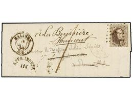62 BELGICA. Of.14. 1865. MALINES To BRUXELLES. Entire Letter Franked With <B>10 Cts.</B> Brown Stamp. <B>AFF. INSUFF.</B - Stamps