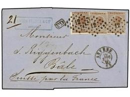 63 BELGICA. Of.19 (3). 1865. ANVERS To BALE (Switzerland). Folded Letter Franked With Three <B>30 Cts.</B> Brown, Tied B - Stamps