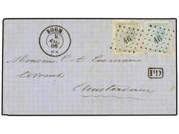 64 BELGICA. Of.17, 18. 1866. BOOM To AMSTERDAM. Folded Letter Franked With <B>10 Cts.</B> Grey And <B>20 Cts.</B> Blue,  - Stamps