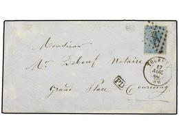65 BELGICA. Of.18. 1866. TOURNAY To TOURCOING (France). Envelope Franked With <B>20 Cts.</B> Blue Stamp, Arrival On Reve - Stamps