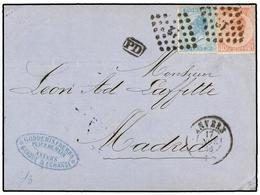 66 BELGICA. Of.18, 20. 1866. ANVERS To MADRID (Spain). Folded Letter Franked With <B>20 Cts.</B> Blue And <B>40 Cts.</B> - Stamps