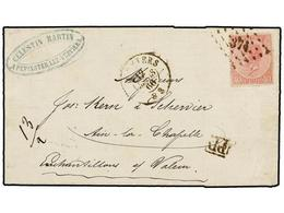 67 BELGICA. Of.20. 1866. VERVIERS To AIX LA CHAPELLE (Germany). Folded Letter Franked With <B>40 Cts.</B> Rose Stamp. <B - Stamps