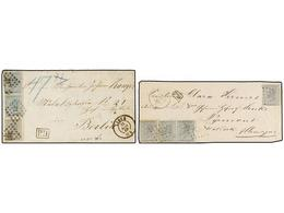 68 BELGICA. 1866. TWO Covers To GERMANY. <B>10+10+10+10 Cts.</B> And <B>10+20+20 Cts.</B> Frankings. - Stamps