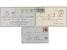 69 BELGICA. 1866-68. THREE Covers To GREAT BRITAIN With <B>10+10+10 Cts., 30 Cts.</B> And <B>20+10 Cts.</B> Frankings. - Stamps