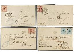 70 BELGICA. 1866-68. Seven Covers To ITALY With <B>40 Cts.</B> (3), <B>20+20 Cts.</B> And <B>10+30 Cts.</B> (3) Franking - Stamps