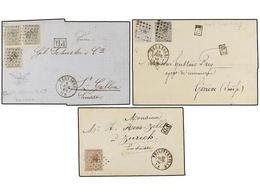 71 BELGICA. 1866-69. THREE Covers To SWITZERLAND With <B>30 Cts.</B>, <B>10+20 Cts.</B> And <B>10+10+10 Cts.</B> Frankin - Stamps
