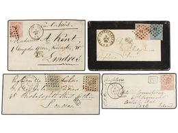 72 BELGICA. 1866-69. FOUR Covers To GREAT BRITAIN And IRELAND With <B>10+30 Cts., 20+40</B> <B>cts.</B> And <B>40 Cts.</ - Stamps