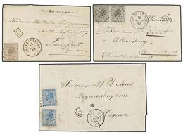 73 BELGICA. 1866-69. SEVEN Covers To GERMANY With <B>10 + 10 Cts, 20 Cts.</B> (2), <B>20 + 20 Cts.</B> (3) And <B>30 Cts - Stamps