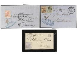 74 BELGICA. 1866-70. FIVE Covers To HOLLAND. <B>10+10 Cts., 20 Cts, 20+20 Cts., 10+30 Cts.</B> And <B>40 Cts.</B> Franki - Stamps
