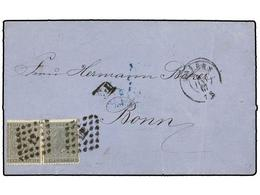 76 BELGICA. Of.17 (2). 1867. ANVERS To BONN (Germany). Folded Letter Franked With Two <B>10 Cent.</B> Grey-black (nice S - Stamps