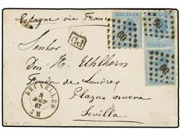 77 BELGICA. Of.18 (3). 1867. BRUXELLES To SEVILLA (Spain). Envelope Franked With Three <B>20 Cts.</B> Blue Stamps, Tied  - Stamps