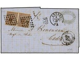 79 BELGICA. Of.19 (2). 1867. ANVERS To CADIZ (Spain). Entire Letter Franked With Two <B>30 Cts.</B> Brown Stamps, Tied B - Stamps