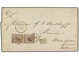 80 BELGICA. Of.19 (2). 1867. LIEGE To NIMEGUE (Holland). Folded Letter Franked With Two <B>30 Cts.</B> Brown, Tied By <B - Stamps