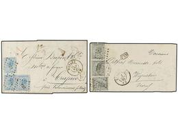 81 BELGICA. 1867-68. TWO Covers To FRANCE. <B>10 + 10 + 10</B> <B>cts.</B> And <B>20 + 20 + 20 Cts.</B> Frankings. - Stamps