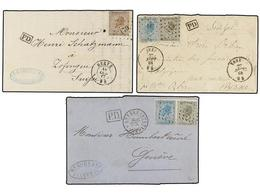 82 BELGICA. 1867-68. THREE Covers To SWITZERLAND With <B>10 + 20 Cts.</B> (2) And <B>30 Cts.</B> Frankings. - Stamps