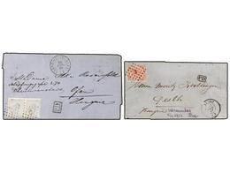 83 BELGICA. 1867-69. TWO Covers To HUNGARY Wiht <B>40 Cts.</B> And <B>20+20 Cts.</B> (fault) Frankings. - Stamps