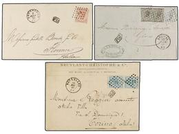 84 BELGICA. 1867-71. THREE Covers To ITALY With <B>20+20 Cts., 40 Cts.</B> And <B>10+20 Cts.</B> Frankings. Very Fine. - Stamps