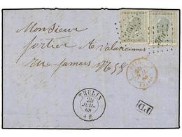 85 BELGICA. Of.17 (2). 1868. THULIN To VELENCIENNES (France). Entire Letter Franked With Two <B>10 Cts.</B> Grey Stamps. - Stamps